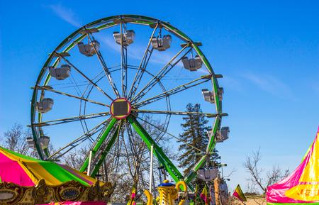 Ferris Wheel At Small County Fair Stock Photo