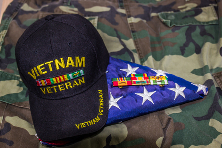 Vietnam Veterans Hat With American Flag & Service Ribbons Stock Photo
