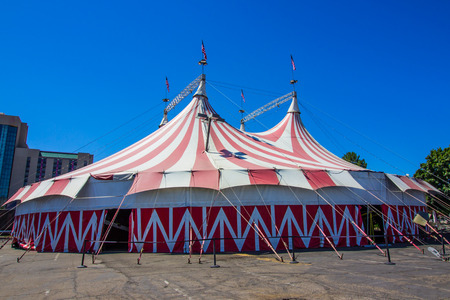 Red & White Stripes On Circus Big Top Tent