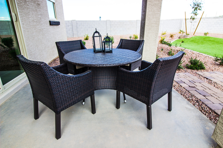 Outdoor Wicker Furniture On Home Patio