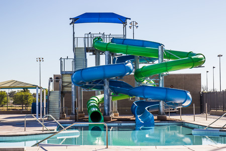 Two Tube Water Slides At Swimming Pool
