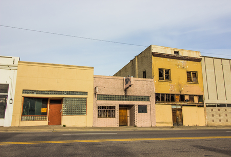 Row Of Abandoned Commercial Store Front Buildings