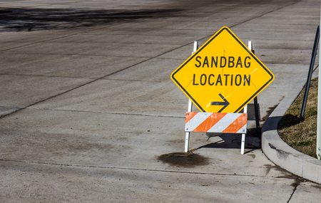 Sign Indicating Sandbag Location Pickup Stock Photo