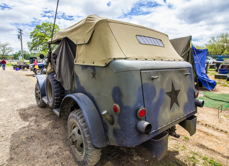 Rear Of Vintage Military Vehicle Stock Photo