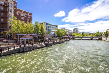 Pavilions On Rushing Truck River In Reno, Nevada Stock Photo