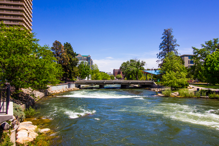 Rushing Waters Of Truckee River In Reno, Nevada
