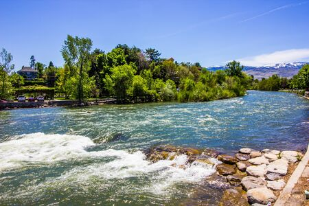 Rushing Waters And Shoreline Of Truckee River