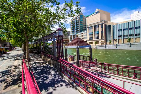 Ramps Leading To River Walk On Truckee River Stockfoto