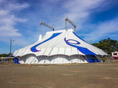 Blue & White Circus Tent With Metal Towers