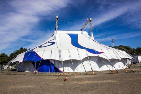 Blue And White Circus Tent With Two Towers