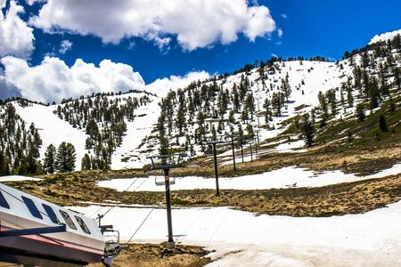 Closed Ski Resort With Melting Snow In Spring