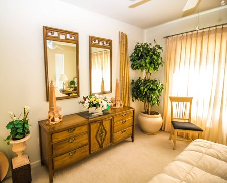 Bedroom With Wooden Dresser And Mirrors
