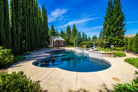 Peaceful Rear Yard Setting With Free Form Pool & Pool House Stockfoto