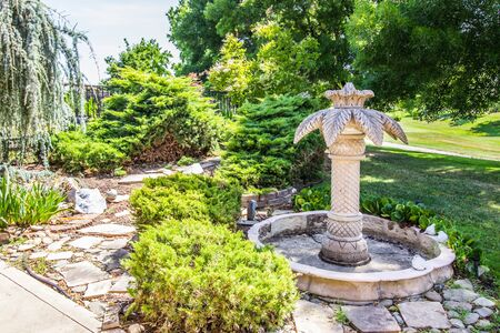 Rear Yard With Flagstone And Fountain