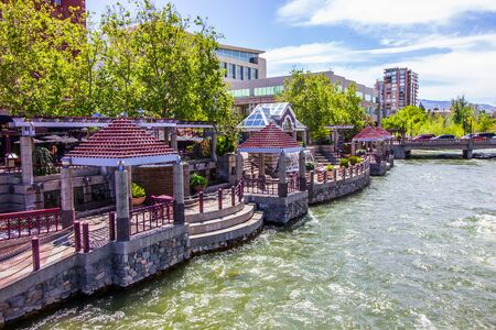 Pavilions Along River Walk In Reno