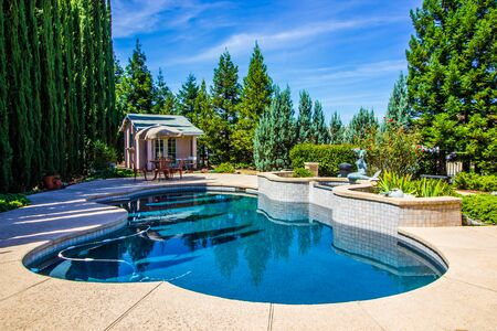 Tranquil Rear Yard Setting With Free Form Pool Stockfoto