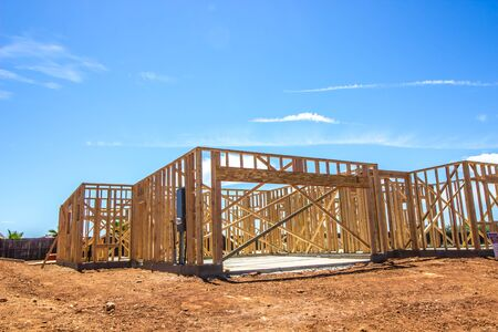 Framing Stage Of New Home Construction Stockfoto