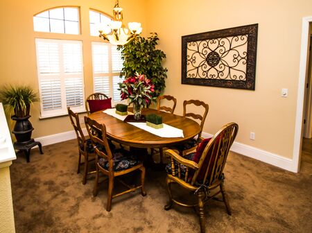 Dining Room With Wooden Table & High Back Chairs