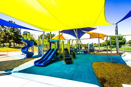 Jungle Gym With Slides In Public Park