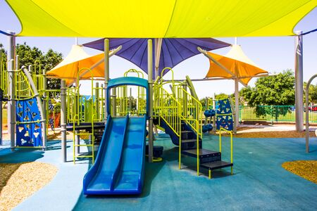 Children's Jungle Gym With Shade Canopies