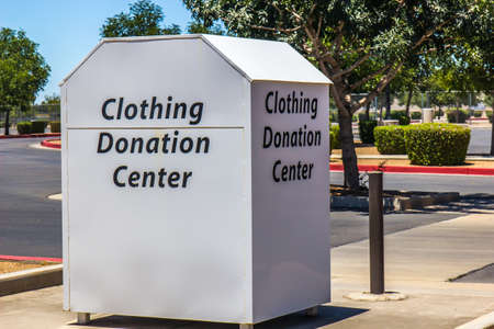 Clothing Donation Container In Public Parking Lot
