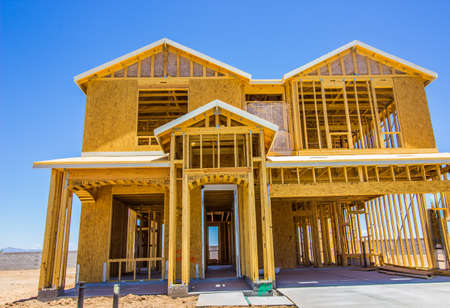 New Construction Of Two Story Home In Framing Stage Banque d'images
