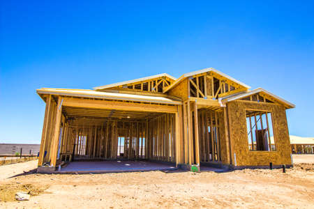 Brand New Home Under Construction During Framing Stage Reklamní fotografie