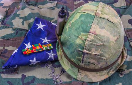 Vietnam Veteran Camouflage Helmet, Service Ribbons & Folded American Flag