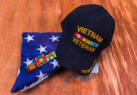 Vietnam Vet Hat, Dog Tags, Service Ribbons & Folded American Flag
