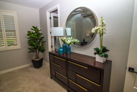 Bedroom With Dresser, Wall Mirror And Various Decorator Items