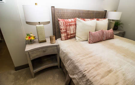 Guest Bedroom With Headboard, Bed, Night Stand And Lamp 写真素材
