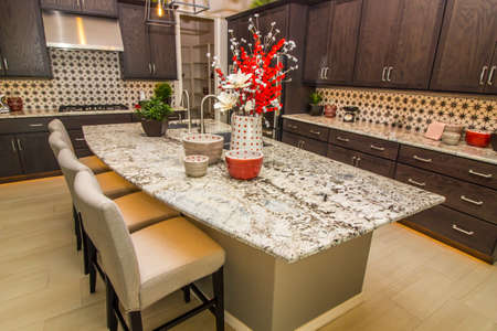Granite Counter Kitchen With Island, Bar Stools & Cabinets