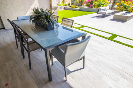 Covered Rear Patio With Table & Six Chairs