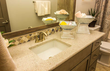 Guest Bathroom Granite Counter With Sink, Mirror & Decorator Items