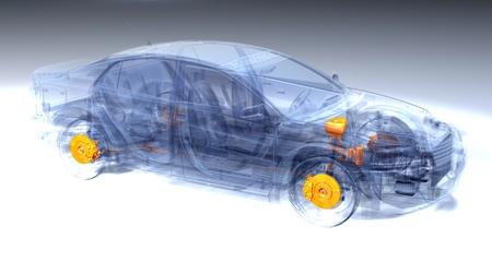frenos: A Virtual Car Graphic Computer Foto de archivo