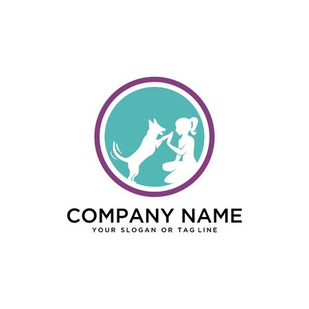 Creative design logo ideas training dogs on a white background become a brand symbol for your business, the concept of dog training icons
