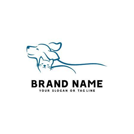 kreatives Logo-Design Hund und Katze Vektorvorlage