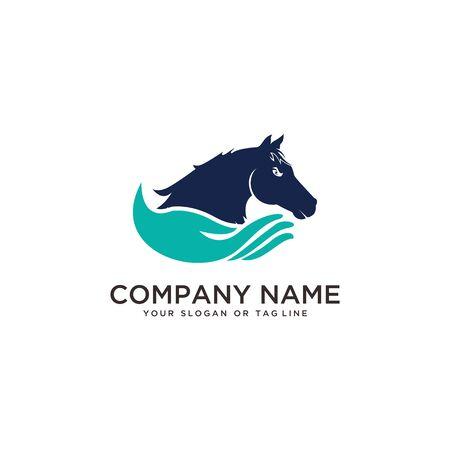 diseño de logotipo cuidado de caballos, plantilla de vector de entrenamiento de caballos