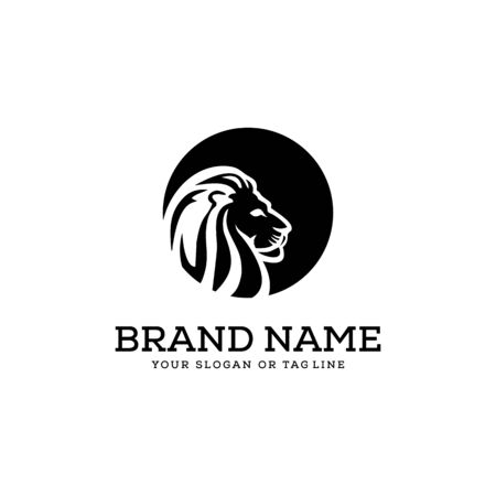 lion logo design vector template white background