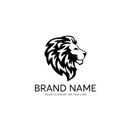 fondo bianco del modello di vettore di progettazione di logo del leone