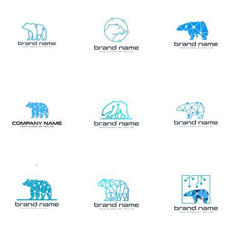 set bear technology logo design vector template white background Reklamní fotografie - 137773441