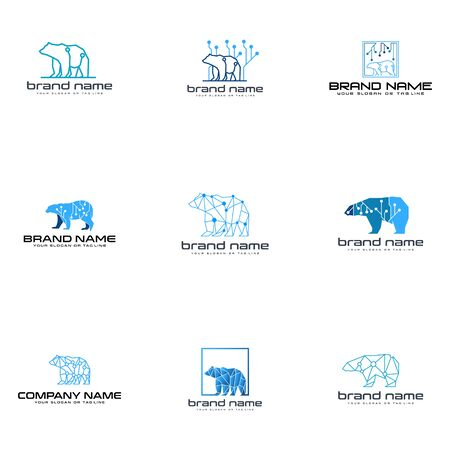 set bear technology logo design vector template white background Reklamní fotografie - 137773447