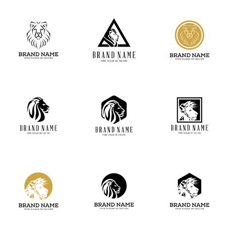 set lion logo design vector template white background Banque d'images - 137864983