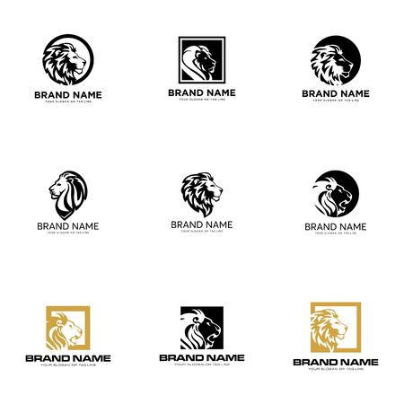 set lion logo design vector template white background Banque d'images - 137864985