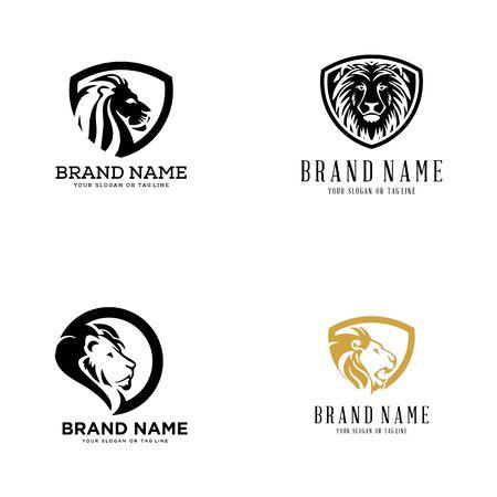 set lion logo design vector template white background Banque d'images - 137864987