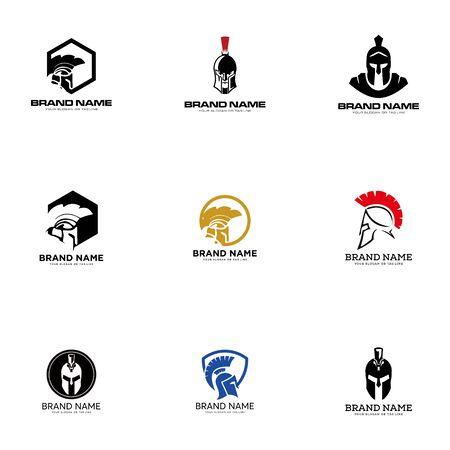set creative logo design concept warrior vector template