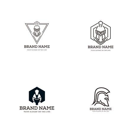 set creative logo design concept spartan vector template 向量圖像