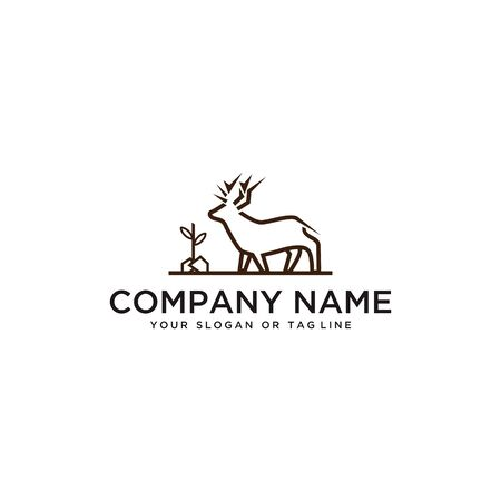 Deer logo design vector template with white background