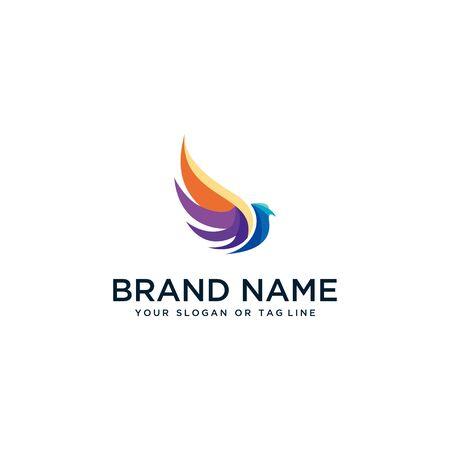 bird design logo in full color vector style template