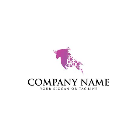 Bull logo design vector template with a white background Illustration